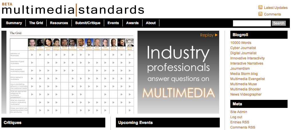Multimedia Standards site screen shot