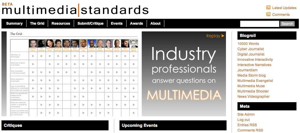 Multimedia Standards site screen shot
