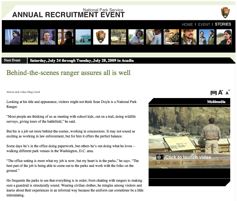National Park Service site screen shot for the DC area ranger project