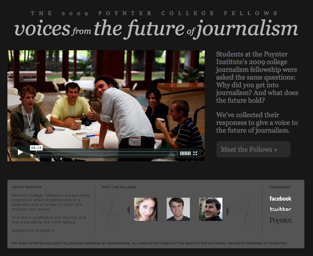 Voices from the Future of Journalism site screen shot