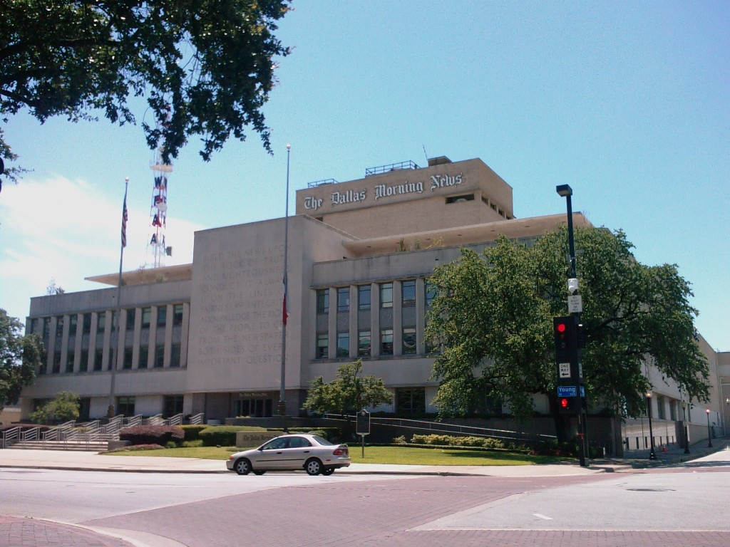 Photo of the Dallas Morning News building during my Sunday excursion.
