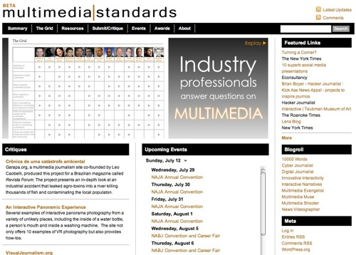 Multimedia Standards (Beta) - A comprehensive resource for multimedia journalists
