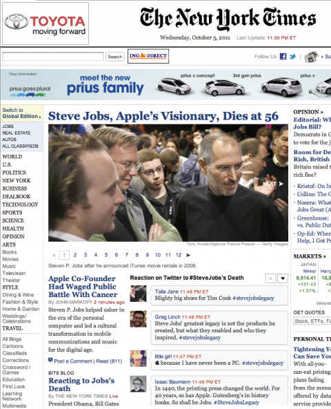 New York Times homepage with Steve Jobs tweets